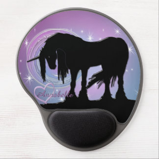 The Mystical Black Unicorn (Pastel Swirl) Gel Mouse Pad