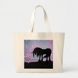 The Mystical Black Unicorn (Pastel Swirl) Jumbo Tote Bag