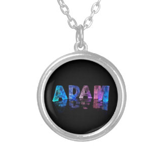 The Name Adam in Lights Silver Plated Necklace