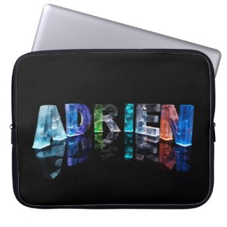 The Name Adrien in Lights Laptop Sleeves