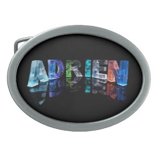 The Name Adrien in Lights Oval Belt Buckles