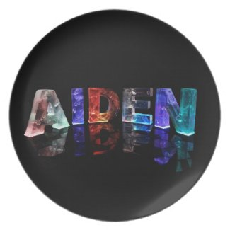 The Name Aiden in 3D Lights Dinner Plate