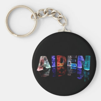 The Name Aiden in Colored Lights Key Ring