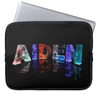 The Name Aiden in Colored Lights Laptop Sleeve