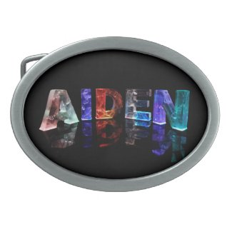 The Name Aiden in Colored Lights Oval Belt Buckle
