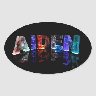 The Name Aiden in Colored Lights Oval Sticker