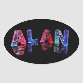 The Name Alan in Lights Oval Sticker