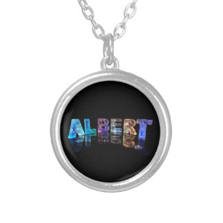 The Name Albert in Lights Silver Plated Necklace