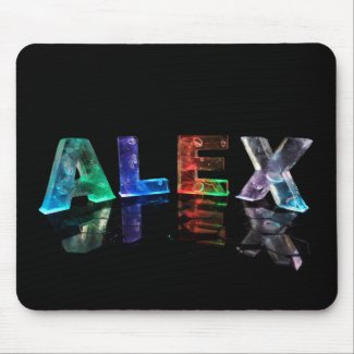 The Name Alex in Lights Mousepad