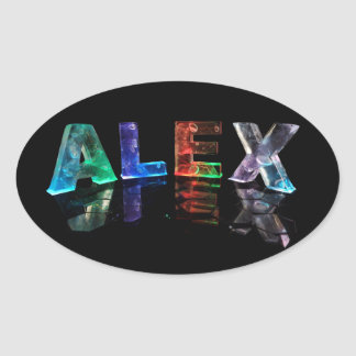 The Name Alex in Lights Oval Sticker
