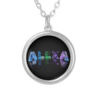 The Name Alexa in Lights Silver Plated Necklace