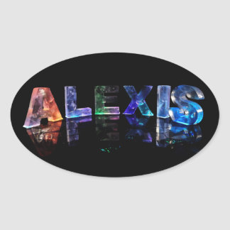 The Name Alexis in Lights Oval Sticker