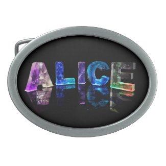 The Name Alice in Lights Belt Buckles