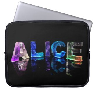 The Name Alice in Lights Laptop Sleeves