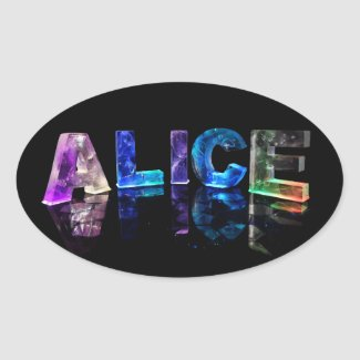 The Name Alice in Lights Oval Sticker