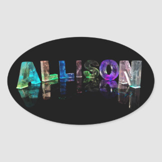 The Name Allison in Lights Oval Sticker