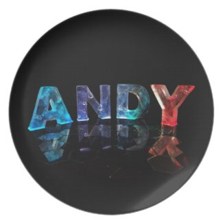 The Name Andy in Lights Dinner Plates