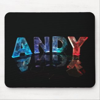 The Name Andy in Lights Mouse Mat