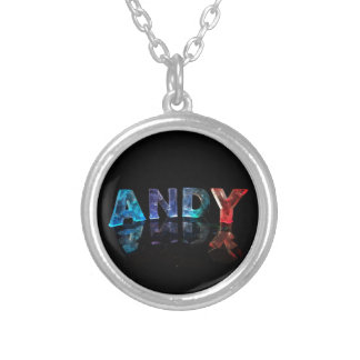 The Name Andy in Lights Silver Plated Necklace