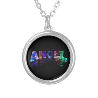 The Name Angel in 3D Lights Custom Necklace
