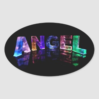 The Name Angel in 3D Lights Oval Sticker