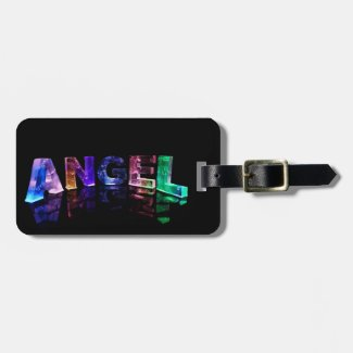 The Name Angel in 3D Lights Tag For Bags
