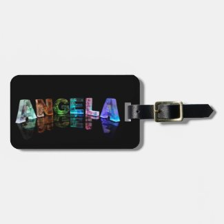 The Name Angela in Lights Bag Tag