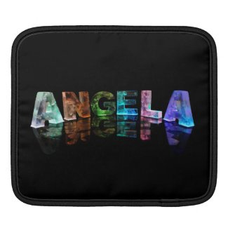 The Name Angela in Lights iPad Sleeves