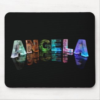 The Name Angela in Lights Mousemat