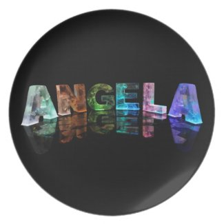The Name Angela in Lights Party Plate