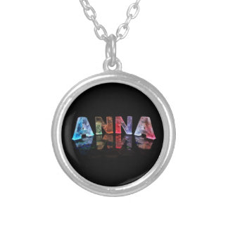 The Name Anna in Colored Lights Silver Plated Necklace