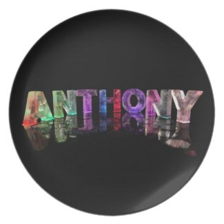 The Name Anthony in Lights Dinner Plate