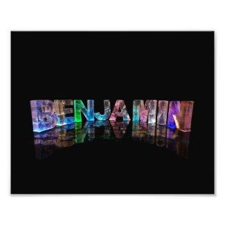 The Name Benjamin in 3D Lights Art Photo