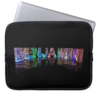 The Name Benjamin in 3D Lights Computer Sleeves