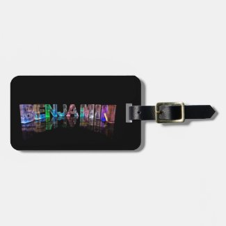 The Name Benjamin in 3D Lights Luggage Tag