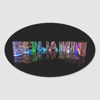 The Name Benjamin in 3D Lights Oval Sticker