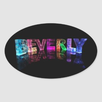 The Name Beverly in 3D Lights Oval Sticker