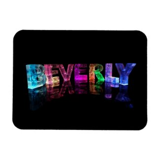The Name Beverly in 3D Lights Rectangular Magnet