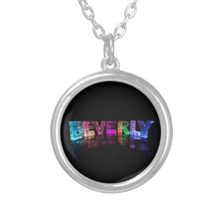 The Name Beverly in 3D Lights Silver Plated Necklace