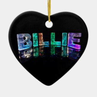 The Name Billie in 3D Lights (Photograph) Christmas Tree Ornaments