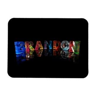 The Name Brandon in 3D Lights Flexible Magnet
