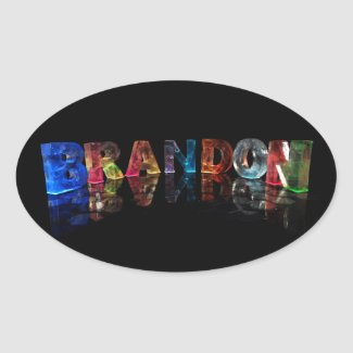 The Name Brandon in 3D Lights Oval Sticker
