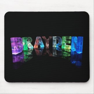 The Name Brayden in 3D Lights Mousemats