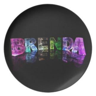 The Name Brenda in 3D Lights Dinner Plates