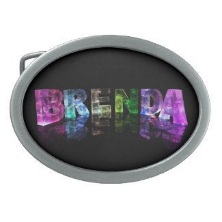 The Name Brenda in 3D Lights Oval Belt Buckles