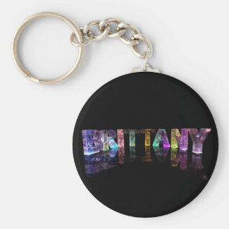 The Name Brittany in 3D Lights Keychain