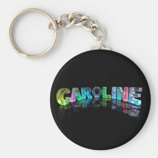 The Name Caroline in 3D Lights Keychain