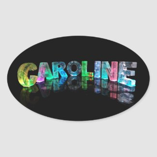 The Name Caroline in 3D Lights Oval Sticker