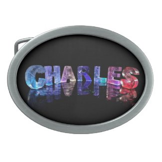 The Name Charles in 3D Lights Oval Belt Buckles