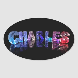The Name Charles in 3D Lights Oval Sticker